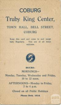 Truby King Center, Coburg, 1930