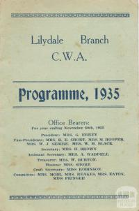 Lilydale CWA Branch, Programme, 1935