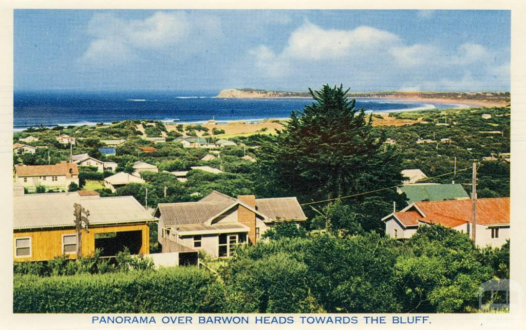 Panorama over Barwon Heads towards the bluff, 1964