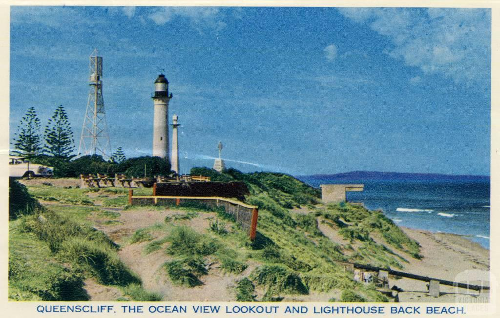 queenscliff  the ocean view lookout and lighthouse back beach  1964