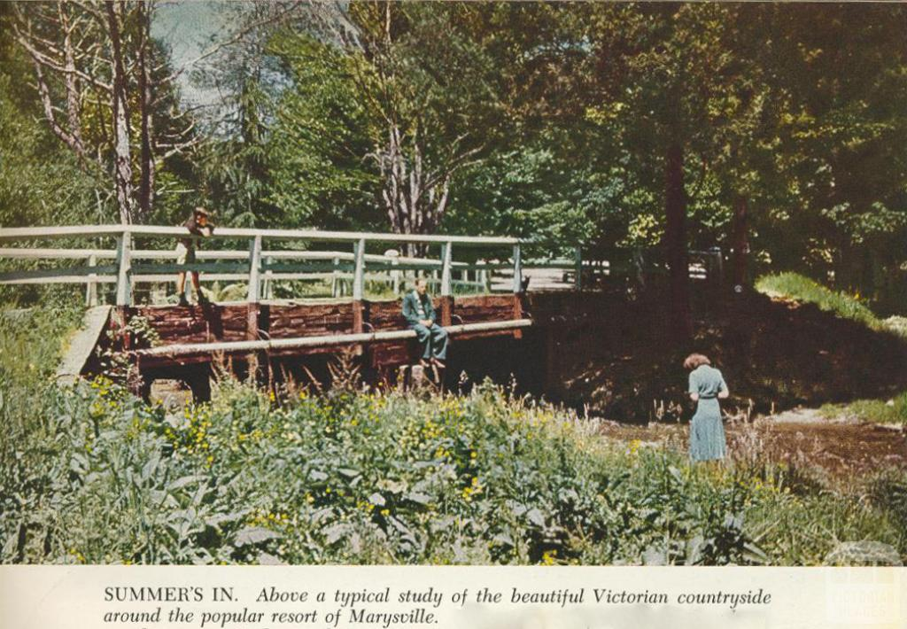 Countryside around the popular resort of Marysville, 1954