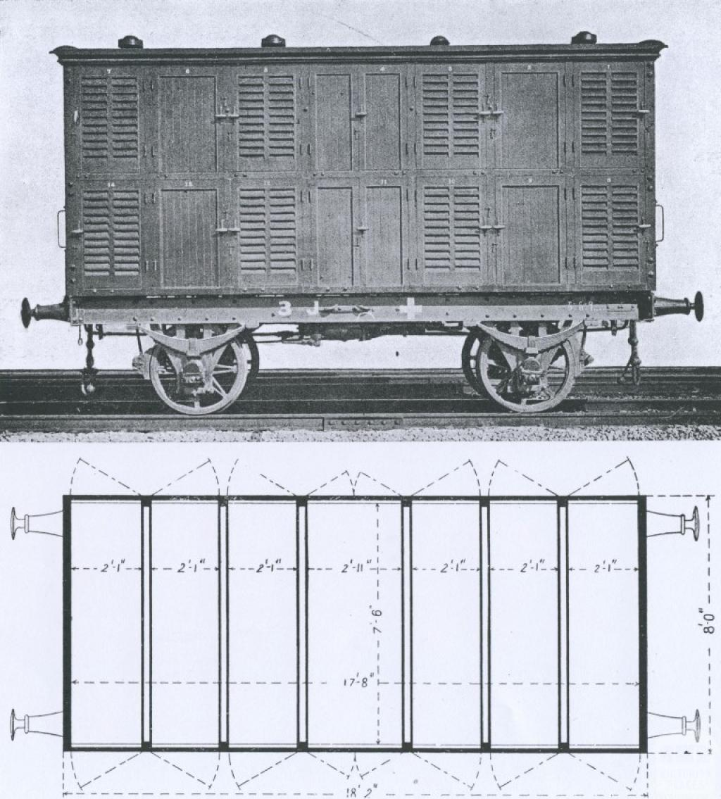 Hearse truck to carry 14 coffins, Newport, 1911