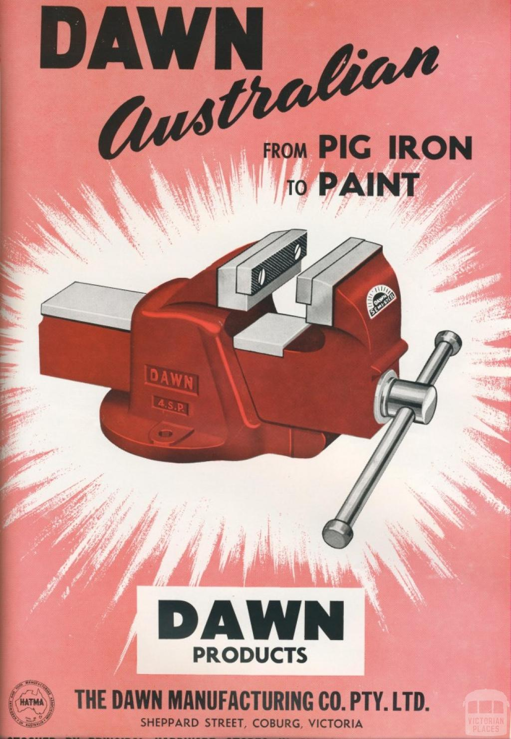 The Dawn Manufacturing Co, Coburg, 1957