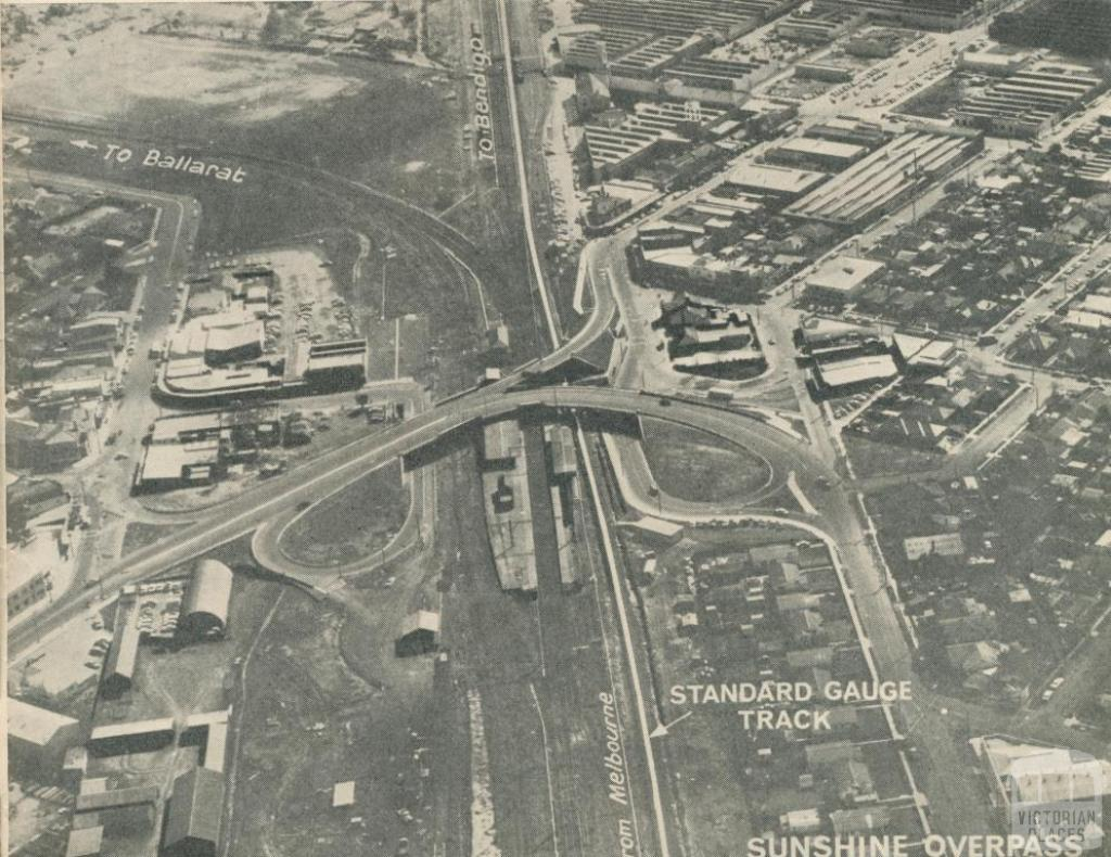 An aerial view of Sunshine Overpass, 1962