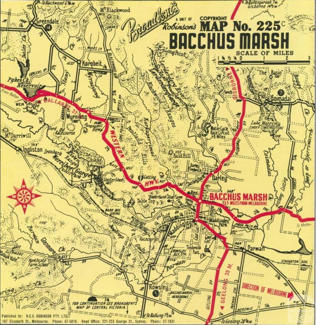 Map of Bacchus Marsh, c1968