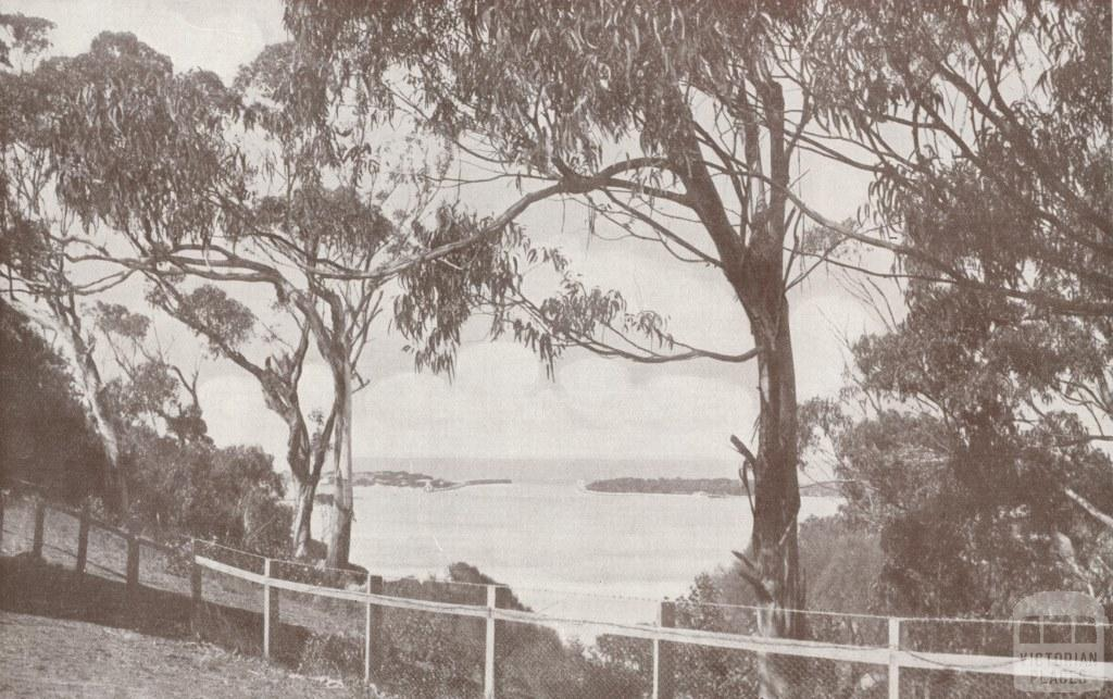 The entrance to the Gippsland Lakes from the verandah of the Kalimna Hotel, 1934