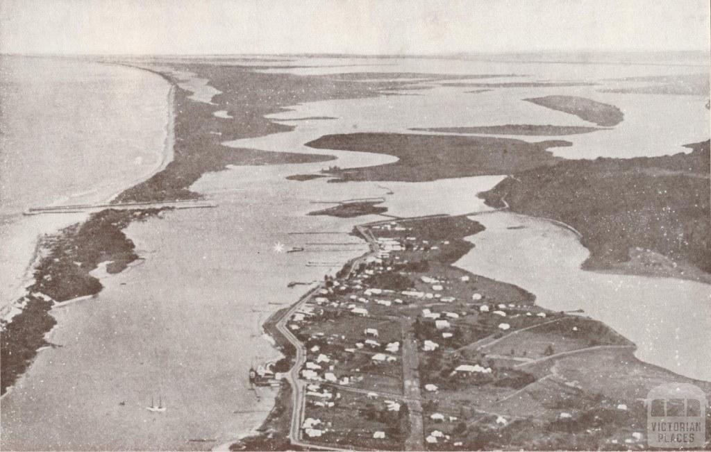Aerial photograph showing Lakes Entrance and Gippsland Lakes, 1934