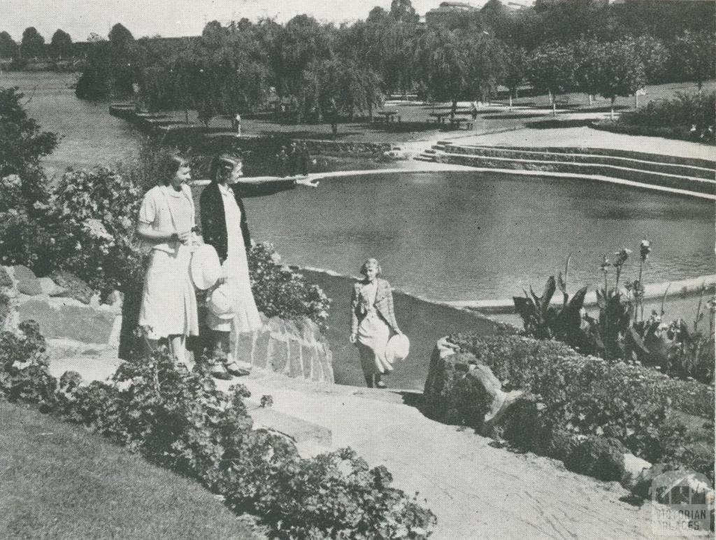 Suburban Lake and Gardens, Coburg, 1955