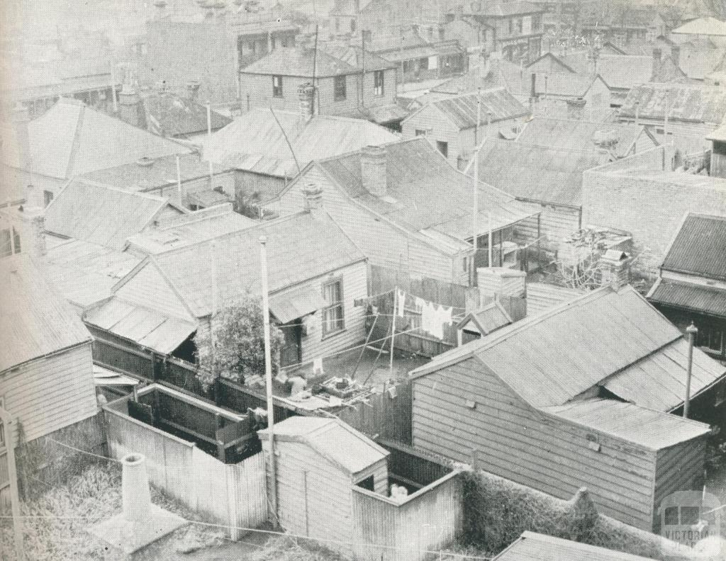Slum pocket at South Melbourne, density 49 houses to the acre, 1942