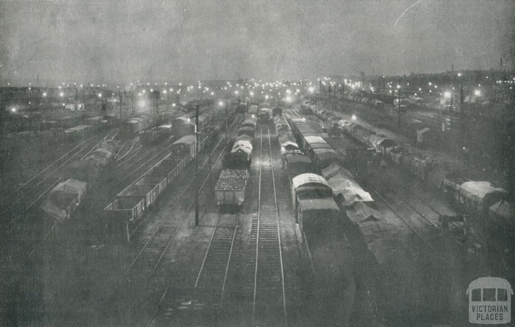 Night in the Melbourne Yards, Jolimont, 1927