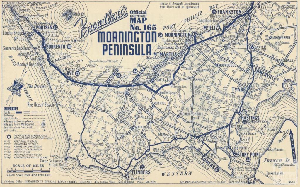 Map Mornington Peninsula, 1949