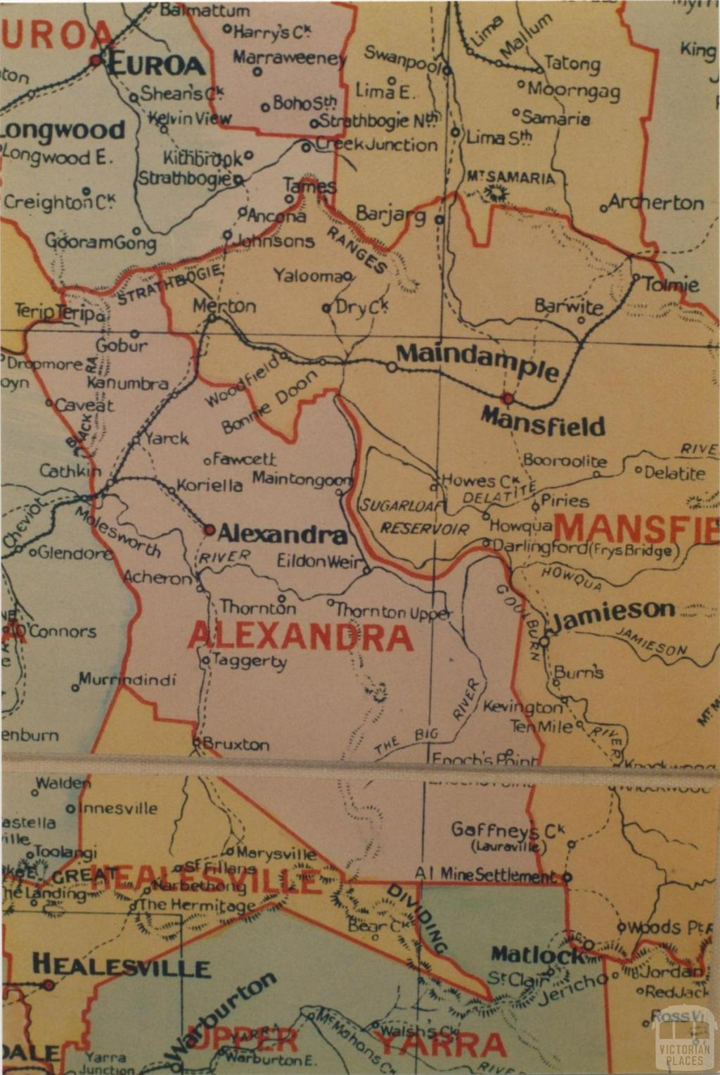 Alexandra shire map, 1924