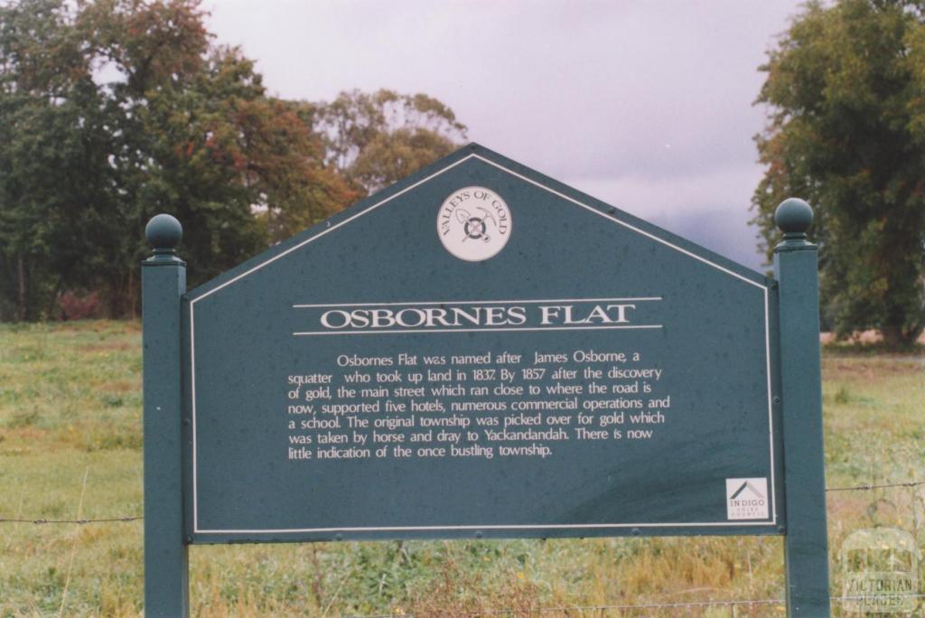 Historical Plaque, Osbornes Flat, 2010