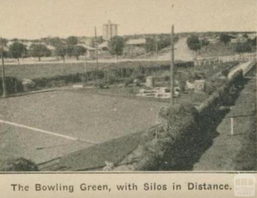 The bowling green, with silos in distance, Dimboola
