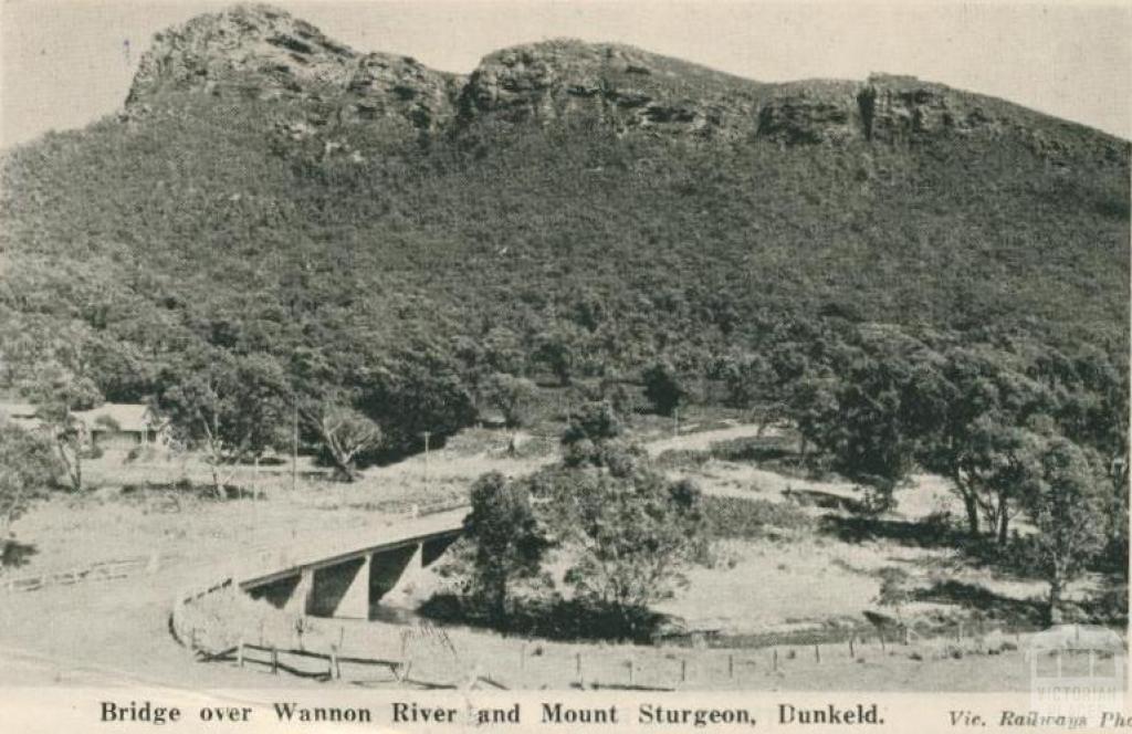 Bridge over Wannon River and Mount Sturgeon, Dunkeld, 1952