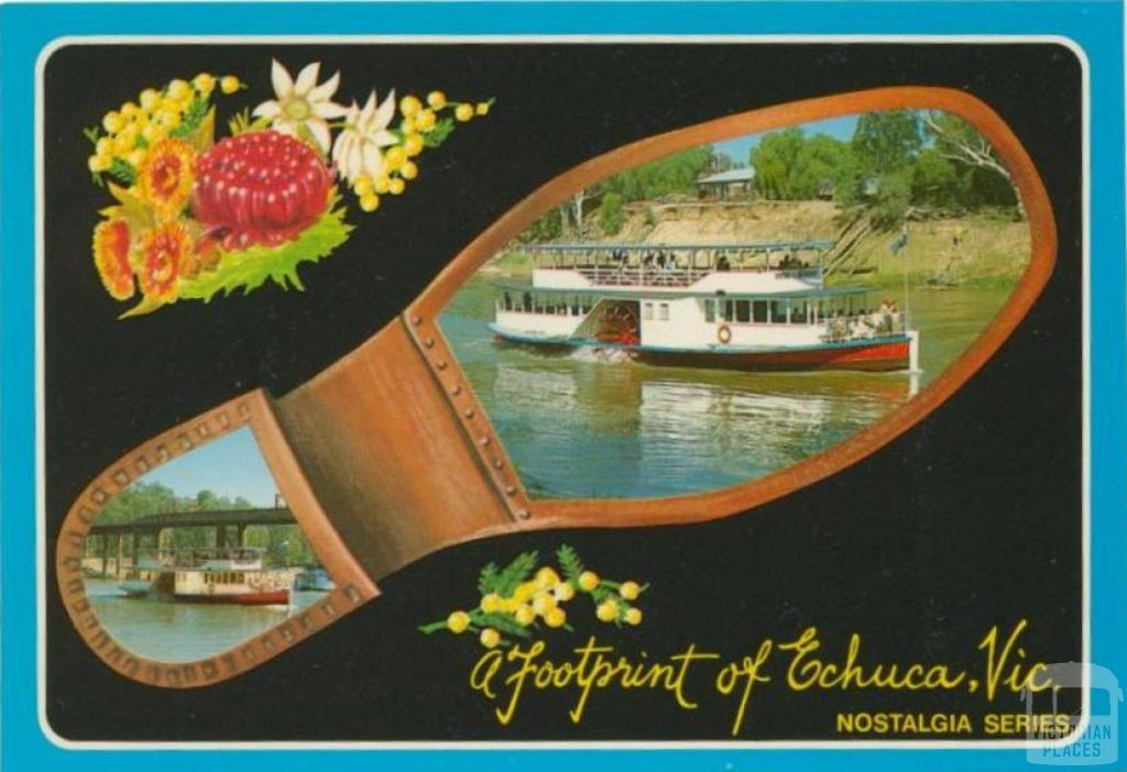 A footprint of historical Echuca showing Paddlesteamer Pride of the Murray and Iron Bridge