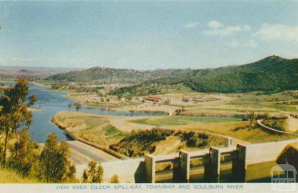 View over Eildon spillway, township and Goulburn River