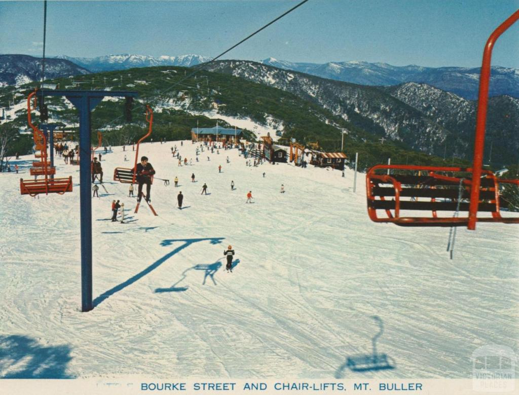 Bourke Street and Chair Lifts, Mount Buller, 1974