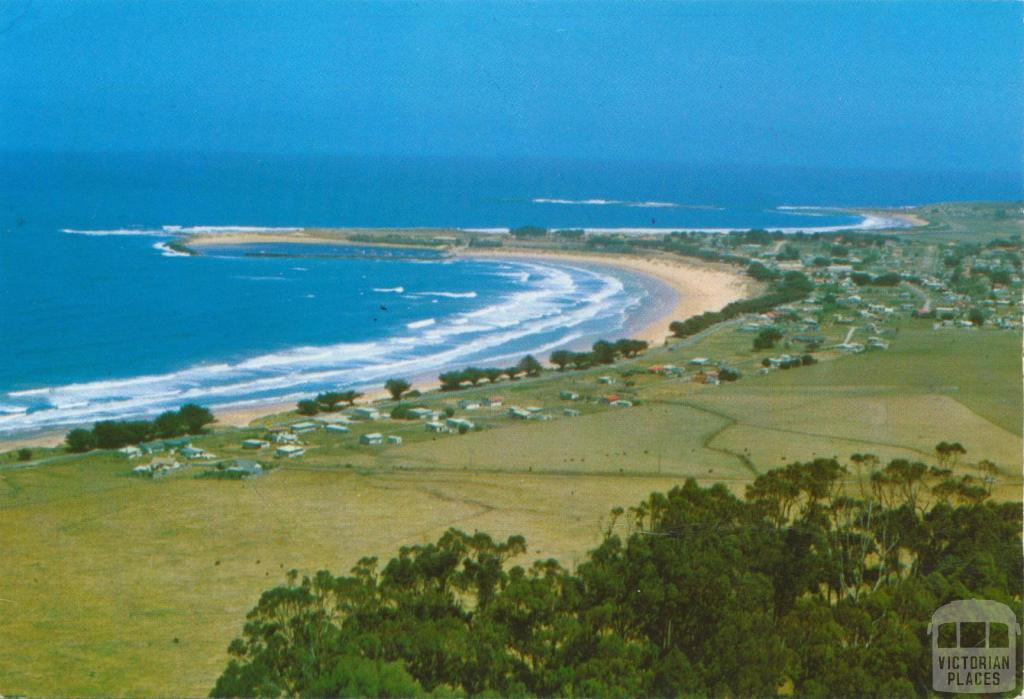 View of the beach, harbour and township, Apollo Bay, 1973