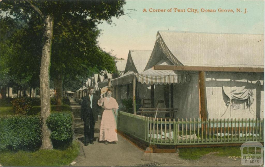 A Corner of Tent City, Ocean Grove, New Jersey, the origin of the Australian name Ocean Grove, 1911