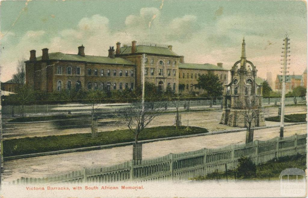 Victoria Barracks, with South African Memorial, Melbourne, 1905