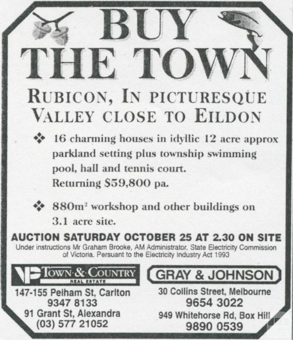 Land Sale Advertisement, Rubicon, 1997