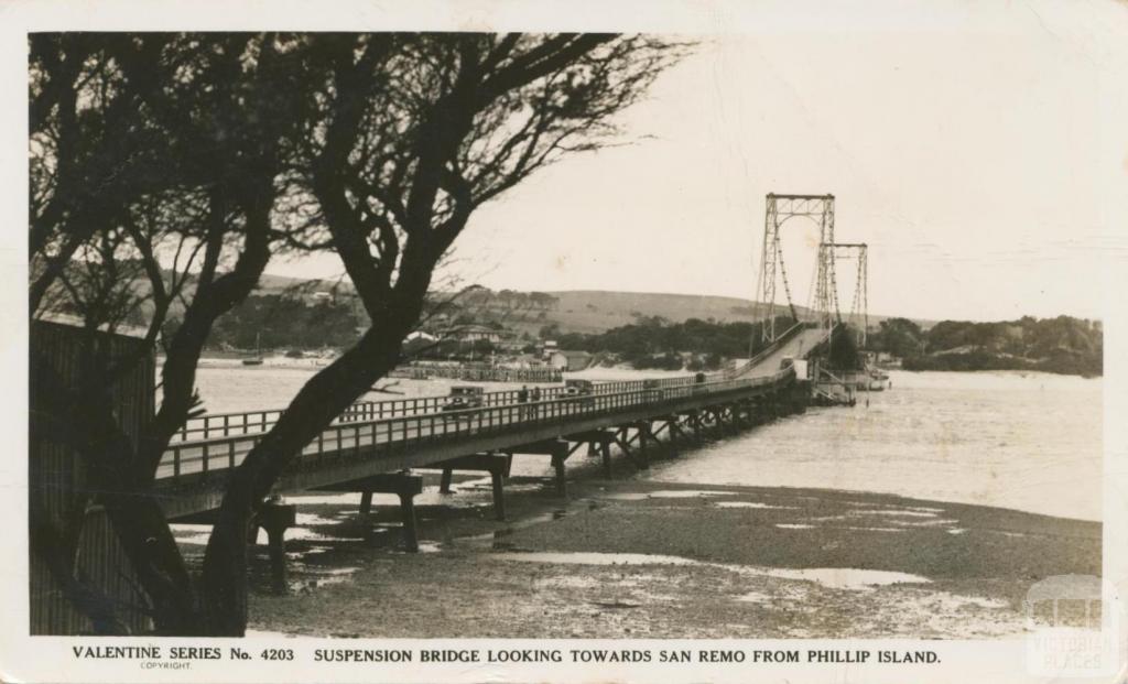 Suspension Bridge, looking towards San Remo from Phillip Island, 1949