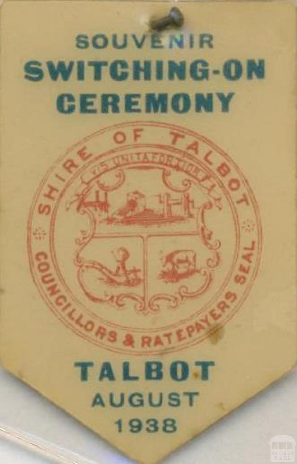 Switching-On Ceremony souvenir, Talbot, 1938