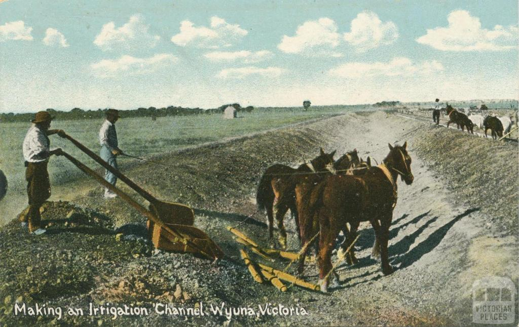 Making an irrigation channel, Wyuna