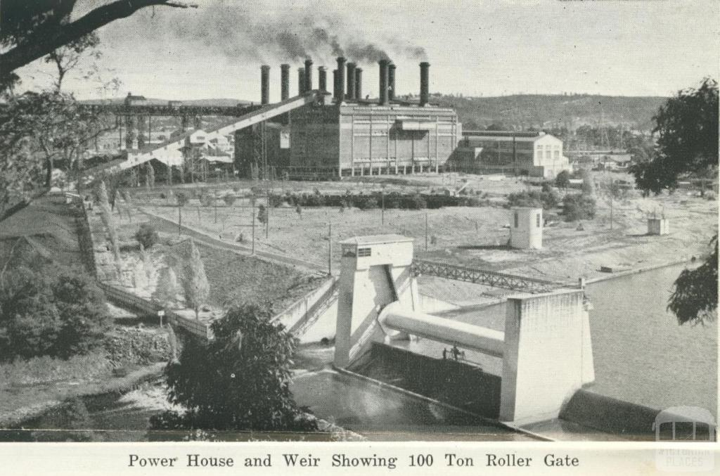 Power House and Weir showing 100 ton Roller Gate, Yallourn