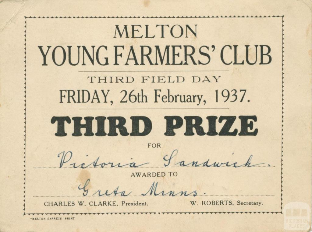 Melton Young Farmers' Club, 1937