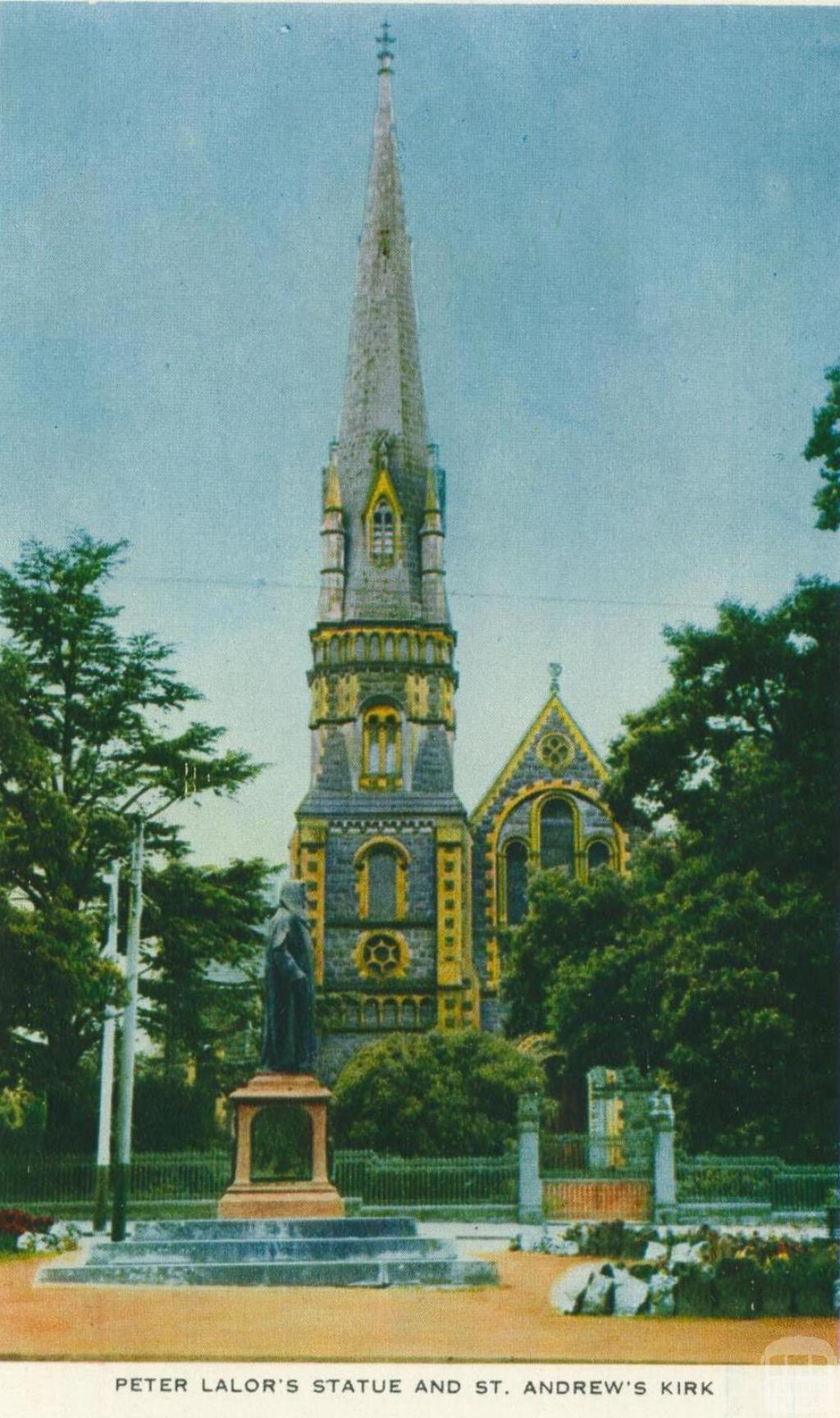 Peter Lalor's Statue and St Andrew's Kirk, Ballarat, 1958